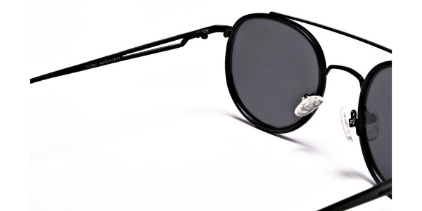 Black Round Metal Sunglasses - 4