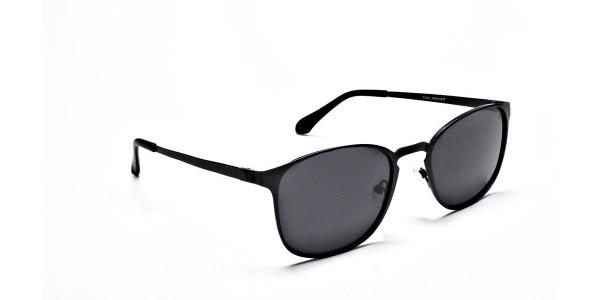 Gunmetal Grey Round Wayfarer Sunglasses - 1