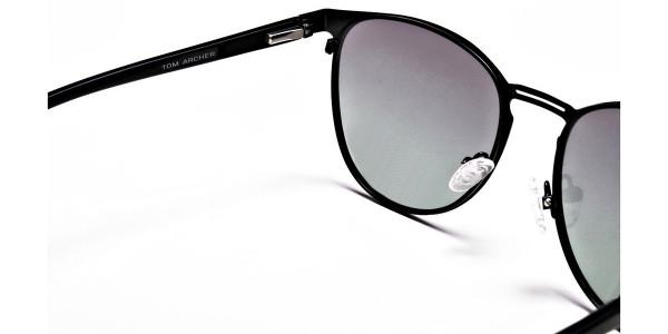 Black Green Tint Sunglasses -5