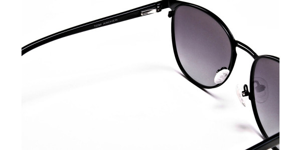 Black Circular Sunglasses-5