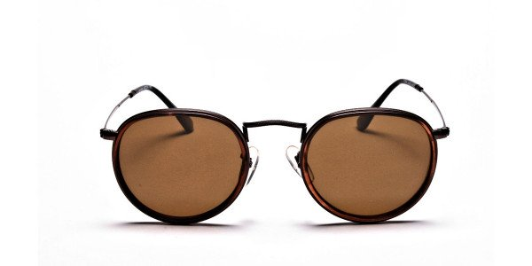 Fashion Brown Round Sunglasses