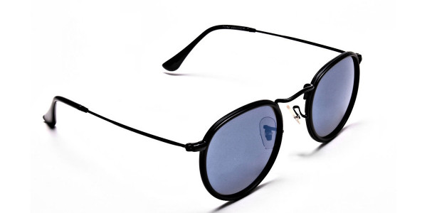 Blue Metal Round Sunglasses - 1