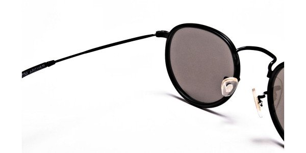 Blue Metal Round Sunglasses - 4