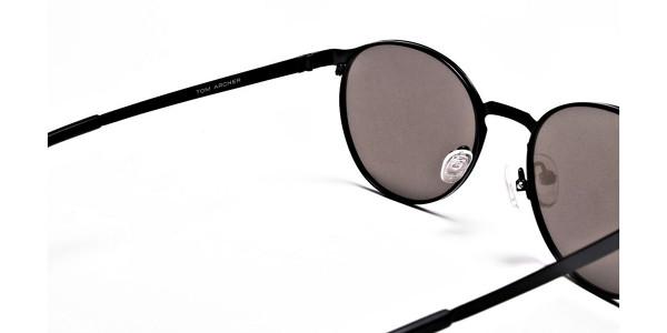 Retro Round Blue Sunglasses - 4