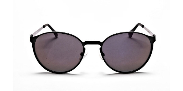 Black Purple Round Sunglasses