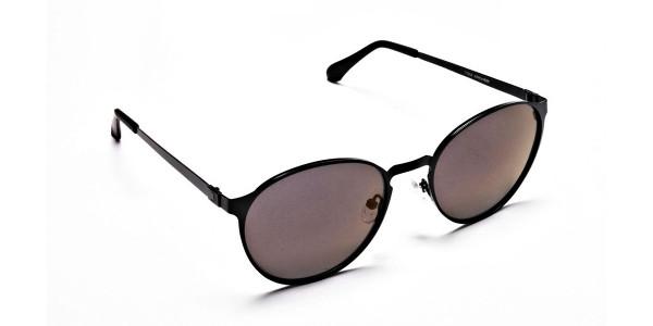 Black Purple Round Sunglasses - 1