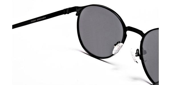 Black Purple Round Sunglasses - 4