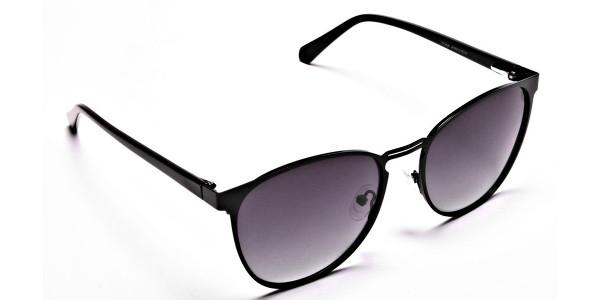 Black Circular Sunglasses-2