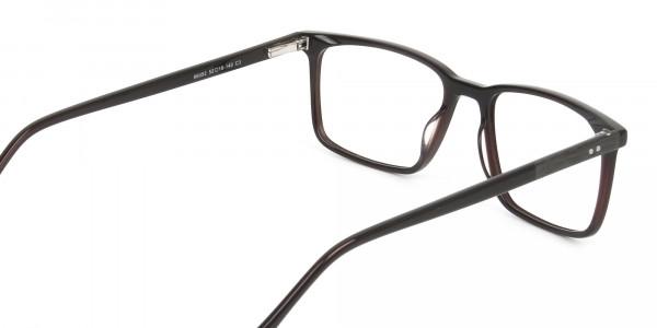 Designer Dark Brown Glasses Rectangular - 5