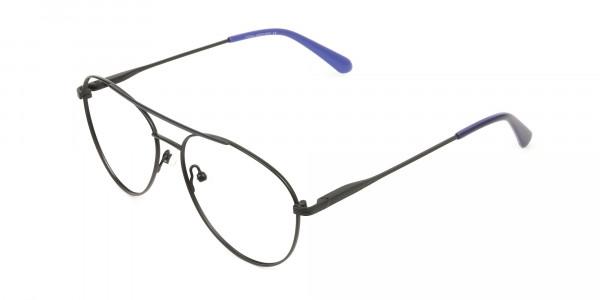 Black Flat Bridge Metal Aviator Glasses - 3