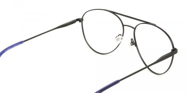 Black Flat Bridge Metal Aviator Glasses - 5