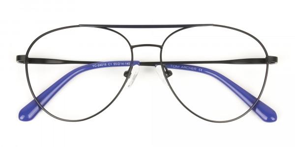 Black Flat Bridge Metal Aviator Glasses - 6