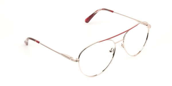 Red & Gold Flat Bridge Aviator Glasses in Metal - 2