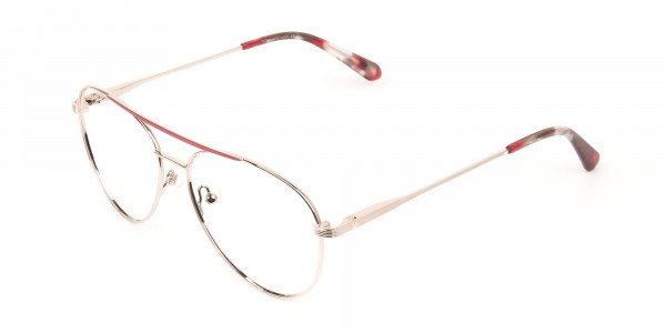Red & Gold Flat Bridge Aviator Glasses in Metal - 3