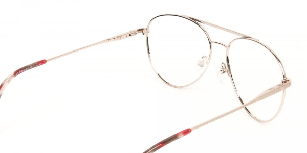Red & Gold Flat Bridge Aviator Glasses in Metal - 5