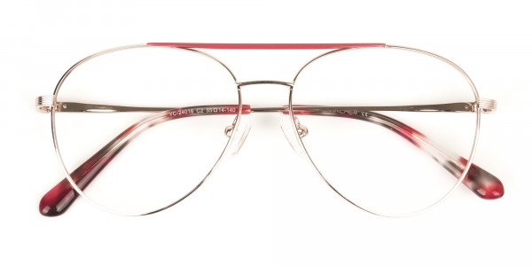 Red & Gold Flat Bridge Aviator Glasses in Metal - 6