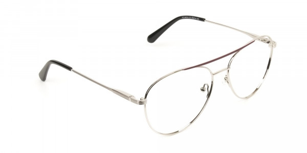 Silver and Brown Flat Bridge Aviator Glasses - 2