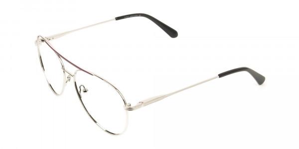 Silver and Brown Flat Bridge Aviator Glasses - 3