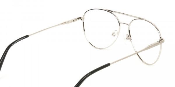 Silver and Brown Flat Bridge Aviator Glasses - 5