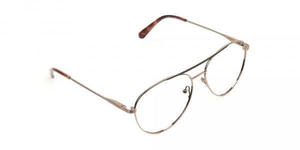 Black Bronze Flat Bridge Aviator Glasses in Metal - 2