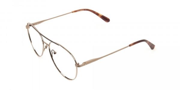 Black Bronze Flat Bridge Aviator Glasses in Metal - 3