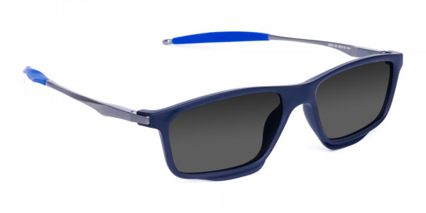 Small Black Rectangle Polarized Sunglasses For Fishing With Grey Tint-2