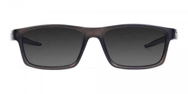 Black Rectangle Cycling Sunglasses For Men & Women with Grey Tint-1