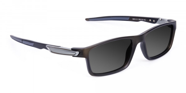Black Rectangle Cycling Sunglasses For Men & Women with Grey Tint-2