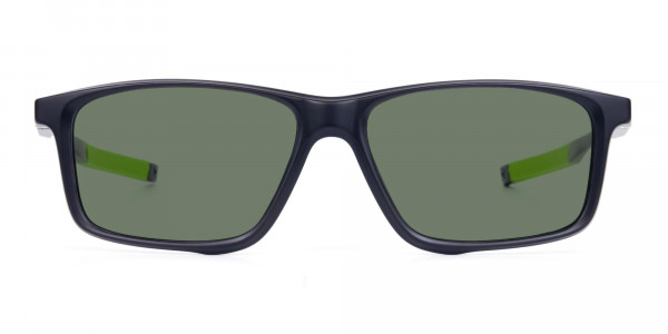 Black and Green Rectangle photochromic sunglasses cycling -1