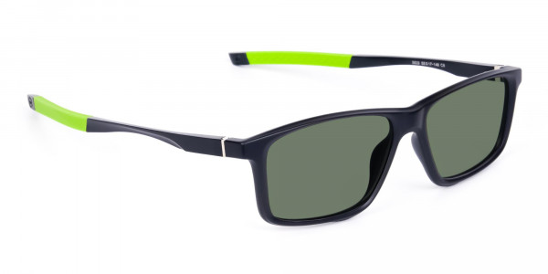 Black and Green Rectangle photochromic sunglasses cycling -2