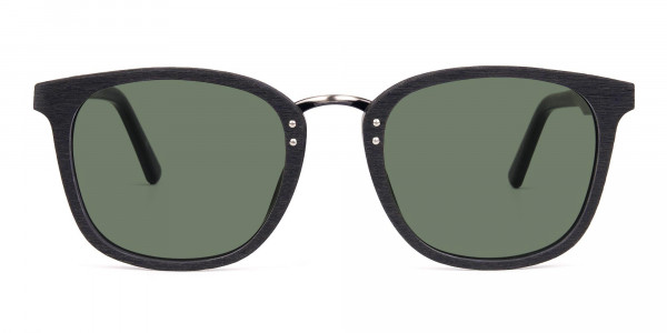 Green-Tint-Square-Shape-Black-Wooden-Sunglasses-1