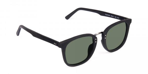 Green-Tint-Square-Shape-Black-Wooden-Sunglasses-2