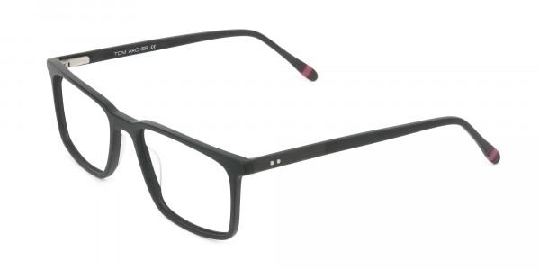 Designer Matte Black Optical Glasses - 3