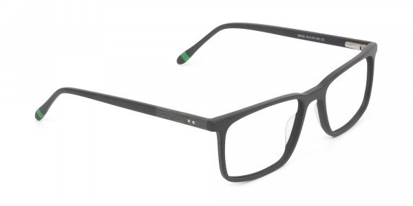 Designer Matte Grey Glasses Rectangular - 2