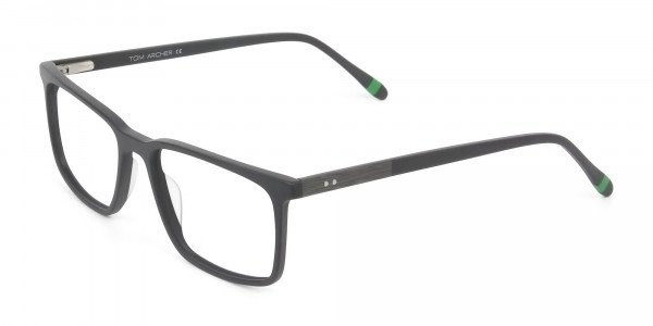 Designer Matte Grey Glasses Rectangular - 3