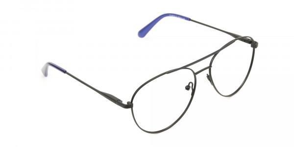 Black Flat Bridge Metal Aviator Glasses - 2