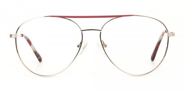 Red & Gold Flat Bridge Aviator Glasses in Metal - 1
