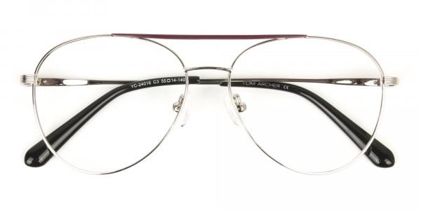 Silver and Brown Flat Bridge Aviator Glasses - 6
