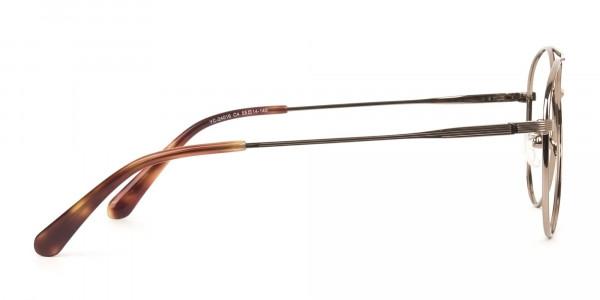 Black Bronze Flat Bridge Aviator Glasses in Metal - 4