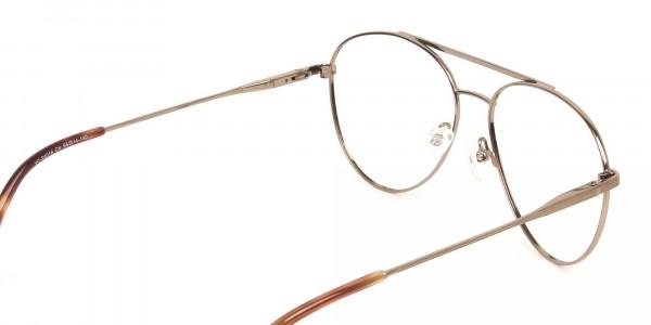 Black Bronze Flat Bridge Aviator Glasses in Metal - 5