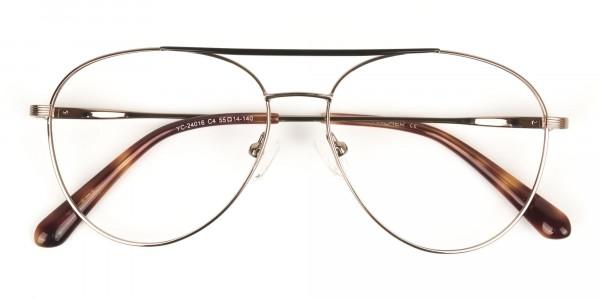 Black Bronze Flat Bridge Aviator Glasses in Metal - 6