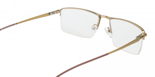 Gold Semi-Rim Glasses with Spring Hinges-5