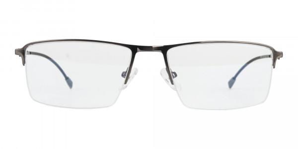 Semi-Rimless Rectangular Glasses in Gunmetal-1
