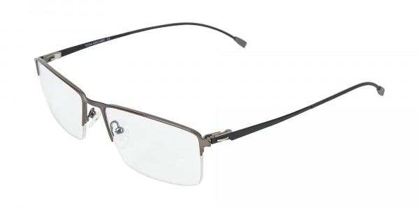 Semi-Rimless Rectangular Glasses in Gunmetal-3
