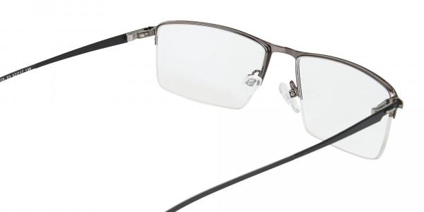 Semi-Rimless Rectangular Glasses in Gunmetal-5