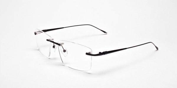 Rimless Glasses in Black for Men & Women -3