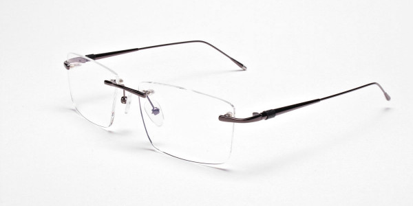 Rimless Glasses in Gunmetal for Men & Women - 3