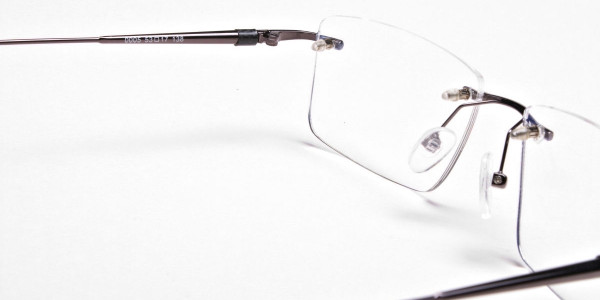 Rimless Glasses in Gunmetal for Men & Women - 6