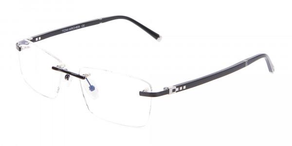 Fine Rectangular Rimless Frame Black-3