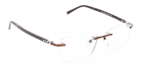 Man Woman's Rimless Frame Brown, Glasses UK-2